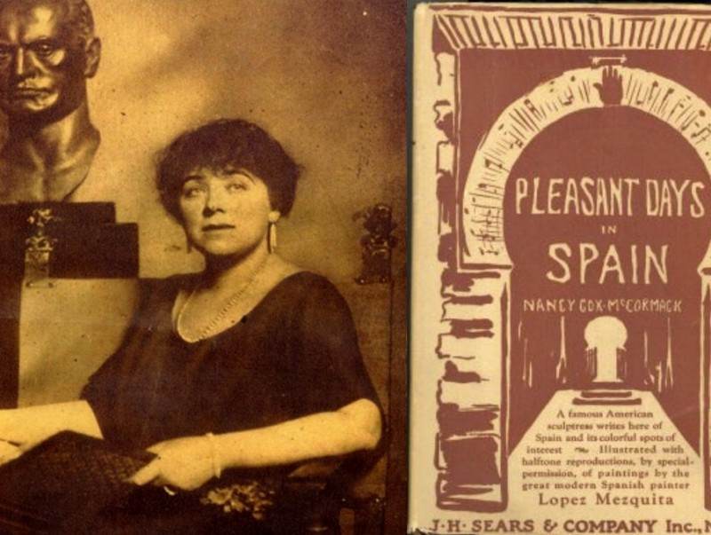 Nancy Cox and the cover of her book, Pleasant Days in Spain.  Photo:ARCHIVE